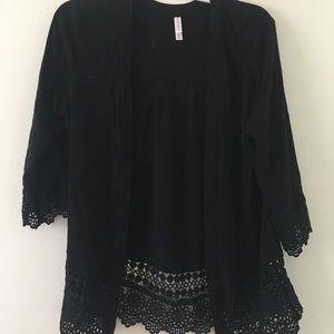 Tops - Black lace cardigan or kimono